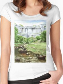 'Malham Cove', North Yorkshire - Watercolours. Women's Fitted Scoop T-Shirt
