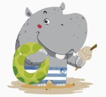Beach Hippo One Piece - Short Sleeve