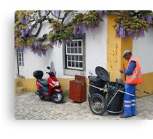 Purple Wisteria - Obidos,  Portugal Canvas Print