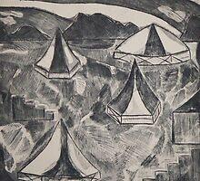 Tents in a Field by Mark Murphy