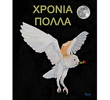 Χρονια Πολλα,HAPPY BIRTHDAY barn owl Photographic Print