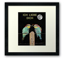 ICH LIEBE DICH, HAPPY VALENTINES  bee eaters Framed Print