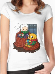 Finn and Jake Really Big Sweaters  Women's Fitted Scoop T-Shirt