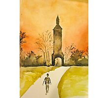 Watercolor Depiction of The Clock Tower in Lorton, Virginia Photographic Print