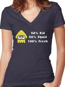 Splatoon Fresh Shirt (Yellow) Women's Fitted V-Neck T-Shirt