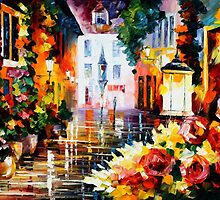 Glowing Flowers - original oil painting on canvas by Leonid Afremov by Leonid  Afremov