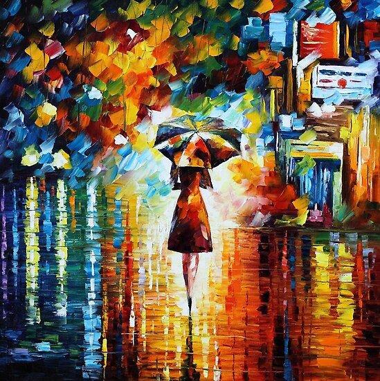 Rain Princess - original oil painting on canvas by Leonid Afremov by Leonid  Afremov