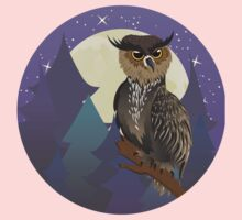Owl in Night Forest One Piece - Short Sleeve
