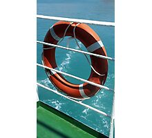 Orange Lifebelt on Holiday Cruise Ship Railings Photographic Print