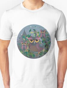 Owls on a Branch 2 Unisex T-Shirt