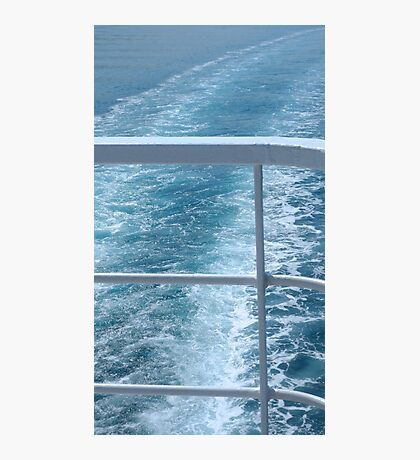 Holiday Cruise Ship Railings and Ocean Wake Waves Behind Photographic Print