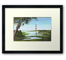 Morris Island Lighthouse w/ Palmetto Framed Print