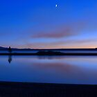 Setting Moon At Dusk - Yellowstone Lake by Stephen Vecchiotti