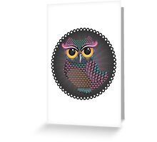 Pink and Blue Color Owl 2 Greeting Card