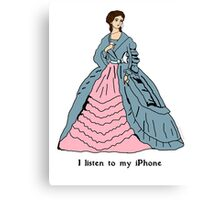 Victorian Lady with mobile phone Canvas Print
