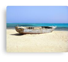 Wreck of Old Fishing Boat on Remote Desert Island Beach Canvas Print