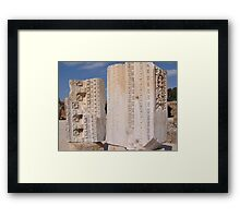 Ancient Carved Stone Frieze Monoliths at Carthage Tunisia Framed Print