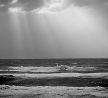 Stormy Sunset on the Pacific - black and white by tracyannjones