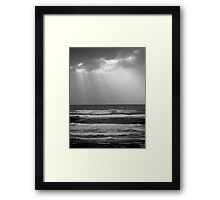 Stormy Sunset on the Pacific - black and white Framed Print