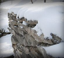 Snow on Rock Fence by G. David Chafin