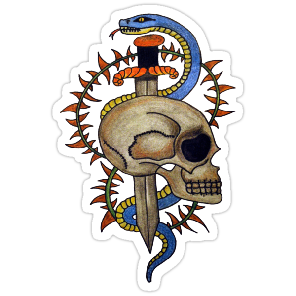 skull and snake tattoo design  by grostique