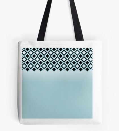 Baby Blue with Black Geometric Ornate Squares Tote Bag