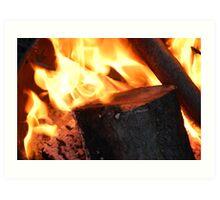 Keeping Warm-Fire Art Print