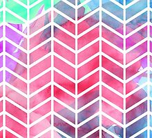 Bright Colorful Watercolor Split Chevron by Blkstrawberry
