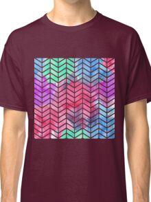 Bright Colorful Watercolor Split Chevron Classic T-Shirt