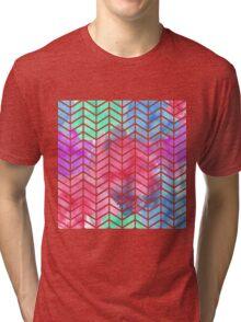 Bright Colorful Watercolor Split Chevron Tri-blend T-Shirt