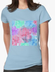 Bright Colorful Watercolor Split Chevron Womens Fitted T-Shirt