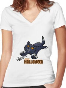 Spooky Animals Cat and Mouse Women's Fitted V-Neck T-Shirt