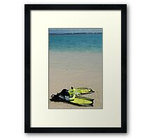 Yellow Flippers and Snorkel at Waters Edge Framed Print