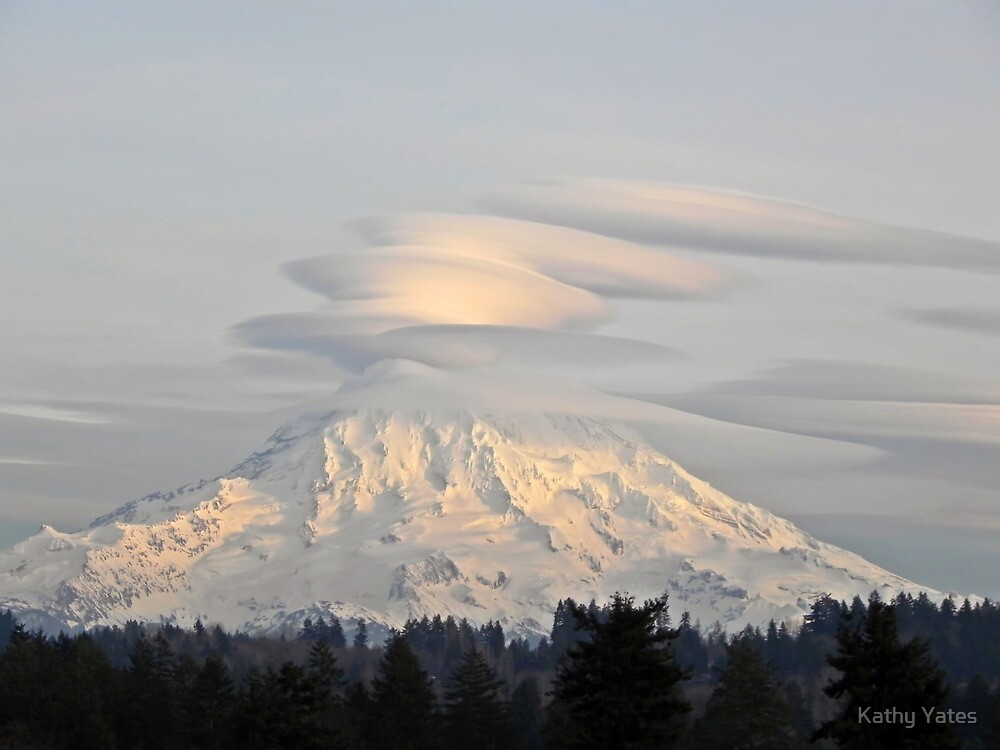 Lenticular Clouds over Mount Rainier by Kathy Yates