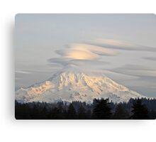 Lenticular Clouds over Mount Rainier Canvas Print