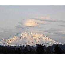 Lenticular Clouds over Mount Rainier Photographic Print