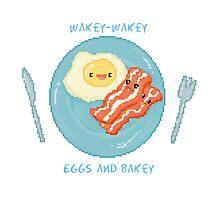 Kawaii Bacon Breakfast - Wakey Wakey Eggs and Bakey Photographic Print