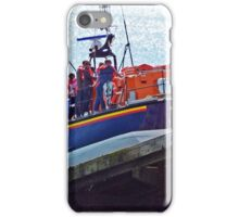 The Selsey Lifeboat being pulled back into the boathouse iPhone Case/Skin