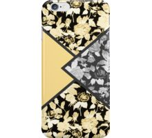 Coral Orange, Black and white Floral Print Fold iPhone Case/Skin