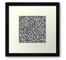 Contemporary Black and White Scribbles Pattern Framed Print