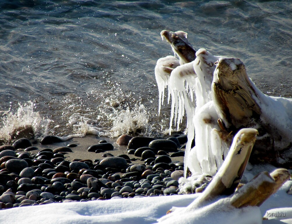 Ice Splash on Lake Superior - Marathon Ontario Canada by loralea