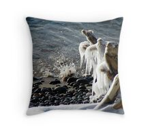 Ice Splash on Lake Superior - Marathon Ontario Canada Throw Pillow