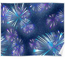 Fireworks - Purple & Blue Poster