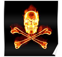 Flaming Skull & Crossbones - Pirates Ahoy! Poster
