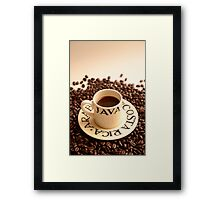 Barista Cup of Coffee and Costa Rica Arabica Beans Framed Print