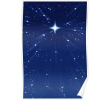 Zooming in Wishing Star - Vertical Deep Blue Poster