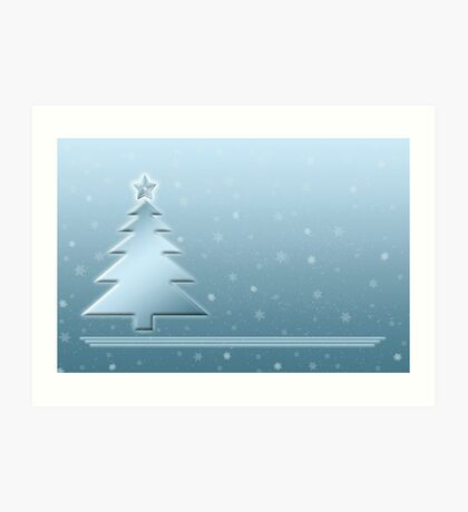 Ice Blue Christmas Scene Art Print