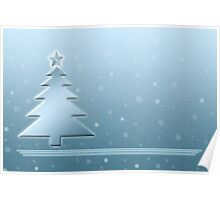 Ice Blue Christmas Scene Poster