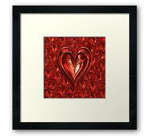 Deep Red Floating Hearts Framed Print