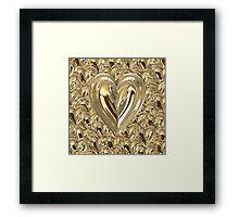 Brass Floating Hearts Framed Print